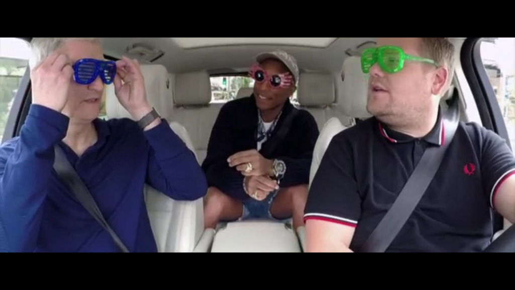 James Corden Carpool caraoke tim cook pharell