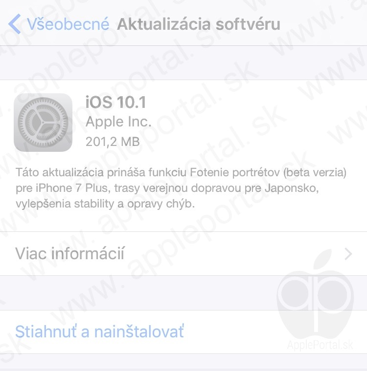 Aktulizacia apple iOs 10.1